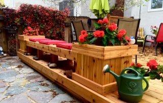 Cedar deck planter bench combo