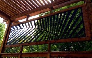 Laser cut palm leaf metal panel