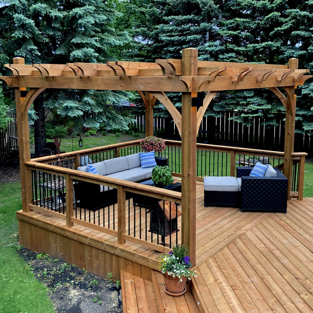 Brown treated wood pergola