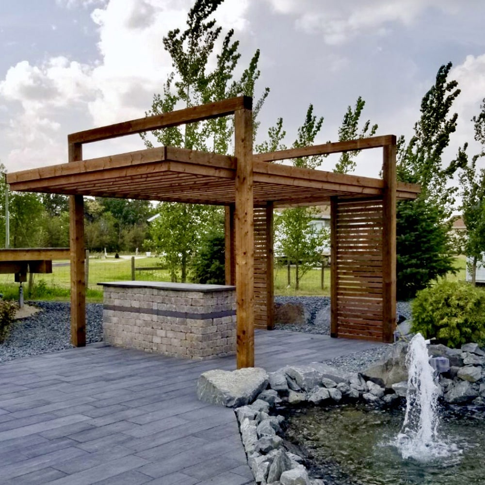 Brown treated wood modern pergola