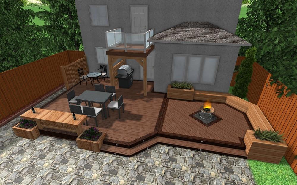 3D deck design rendering with large cedar deck bench