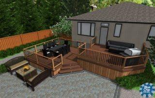 3D deck design rendering two-tier deck