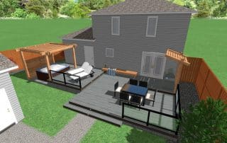 Deck design 3D rendering with cedar pergola and hot tub