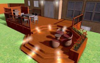 Deck design 3D rendering octagon