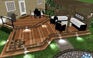 Deck design 3D rendering with pergola