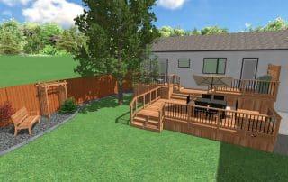 Deck design 3D rendering