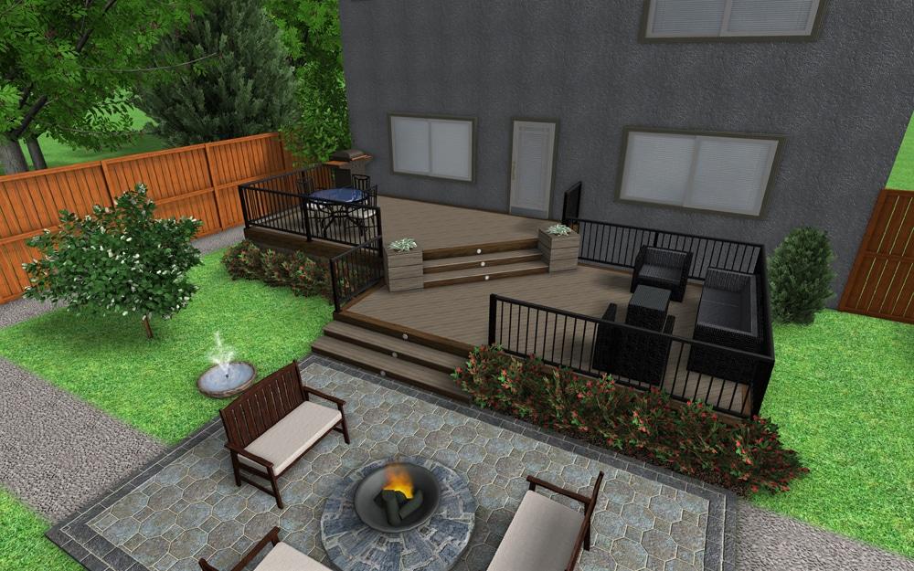Deck design 3D rendering of a two-tier deck