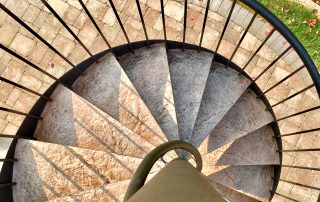 Spiral staircase with concrete treads