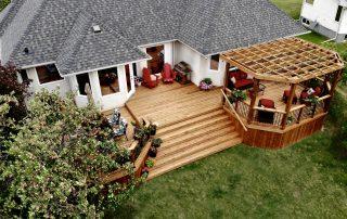 Cedar tone deck with pergola