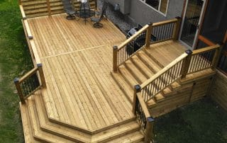 Green treated wood deck