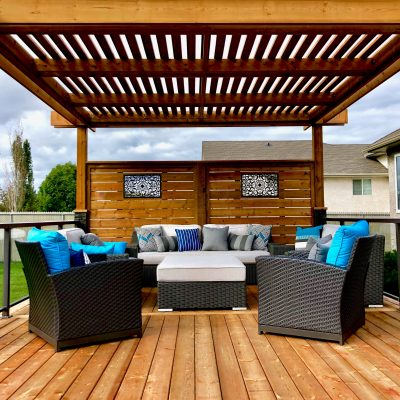 Treated wood pergola with treated privacy screen